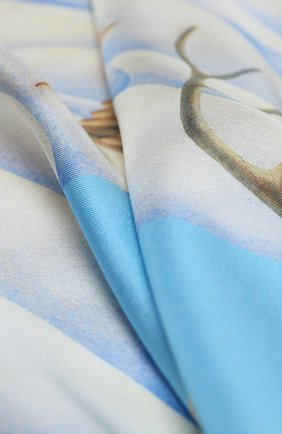 Женский шелковый платок winter KIRILL OVCHINNIKOV голубого цвета, арт. 90\W | Фото 2