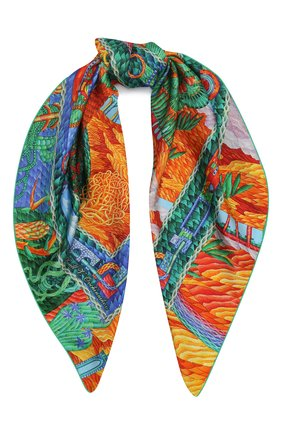 Женский шелковый платок oasis KIRILL OVCHINNIKOV оранжевого цвета, арт. 90\OAS | Фото 1