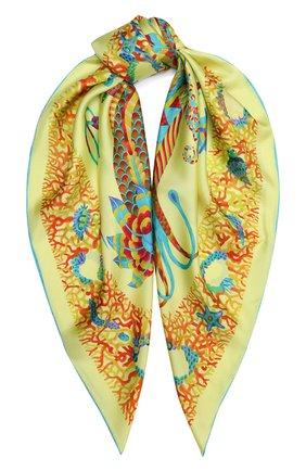 Женский шелковый платок mermaid KIRILL OVCHINNIKOV желтого цвета, арт. 90\MER | Фото 1