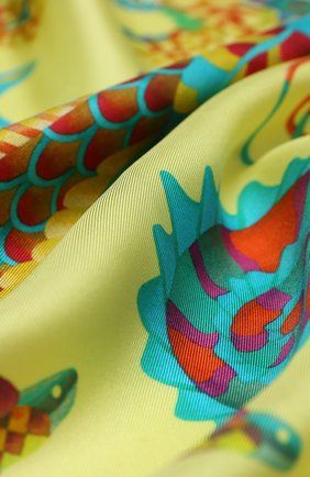 Женский шелковый платок mermaid KIRILL OVCHINNIKOV желтого цвета, арт. 90\MER | Фото 2
