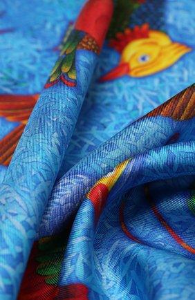 Женский шелковый платок birds of paradis KIRILL OVCHINNIKOV синего цвета, арт. 90\BP | Фото 2