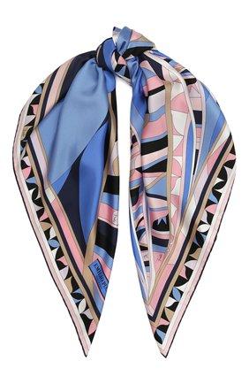 Женский шелковый платок EMILIO PUCCI синего цвета, арт. 0RGB32/0RS32 | Фото 1
