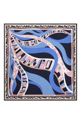 Женский шелковый платок EMILIO PUCCI синего цвета, арт. 0RGB32/0RS32 | Фото 3