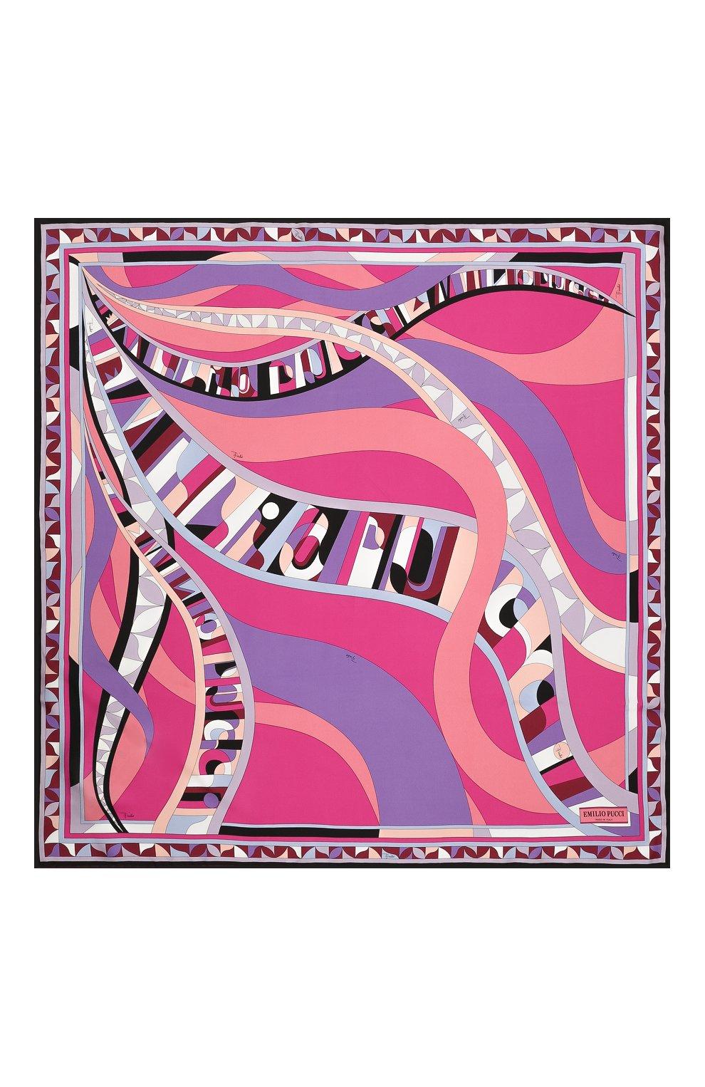 Женский шелковый платок EMILIO PUCCI розового цвета, арт. 0RGB32/0RS32 | Фото 3