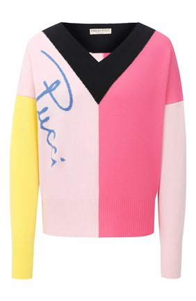 Женский шерстяной пуловер EMILIO PUCCI разноцветного цвета, арт. 0RKM80/0R968   Фото 1