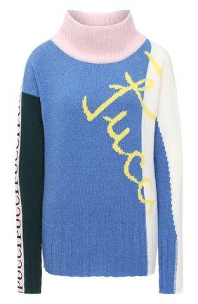 Женский шерстяной свитер EMILIO PUCCI голубого цвета, арт. 0RKM85/0R968   Фото 1