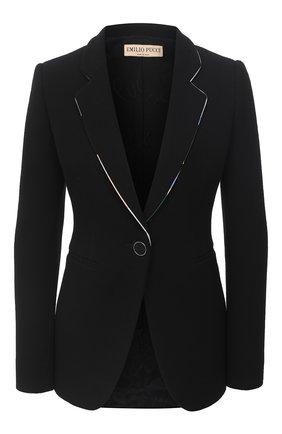 Женский шерстяной жакет EMILIO PUCCI черного цвета, арт. 0RRB31/0R610   Фото 1