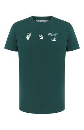 Мужская хлопковая футболка OFF-WHITE зеленого цвета, арт. 0MAA027E20JER0025701 | Фото 1
