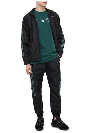 Мужская хлопковая футболка OFF-WHITE зеленого цвета, арт. 0MAA027E20JER0025701 | Фото 2