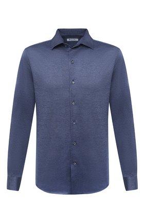 Мужская хлопковая рубашка LORO PIANA синего цвета, арт. FAL0383 | Фото 1