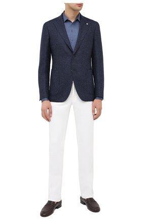 Мужская хлопковая рубашка LORO PIANA синего цвета, арт. FAL0383 | Фото 2