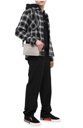 Мужская кожаная сумка OFF-WHITE серого цвета, арт. 0MNA070E20LEA0010500 | Фото 2