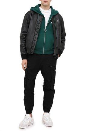 Мужская хлопковая толстовка OFF-WHITE зеленого цвета, арт. 0MBE001E20FLE0045701 | Фото 2