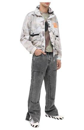 Мужская хлопковая футболка OFF-WHITE хаки цвета, арт. 0MAA027E20JER0076001   Фото 2
