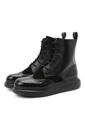Мужские кожаные ботинки ALEXANDER MCQUEEN черного цвета, арт. 625187/WHX5E | Фото 1