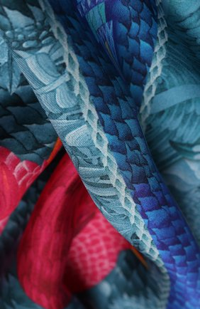 Женский шелковый платок flamingo icе KIRILL OVCHINNIKOV синего цвета, арт. 135\Fi | Фото 2
