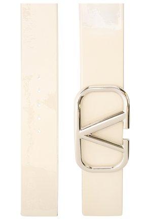 Женский кожаный ремень  VALENTINO белого цвета, арт. UW2T0S10/CJG   Фото 2 (Материал: Кожа)