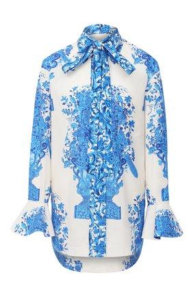 Женская хлопковая блузка VALENTINO голубого цвета, арт. UB3AB18Z5L8 | Фото 1