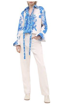 Женская хлопковая блузка VALENTINO голубого цвета, арт. UB3AB18Z5L8 | Фото 2