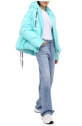 Женский пуховик с капюшоном KHRISJOY бирюзового цвета, арт. AFPW001/NY | Фото 2