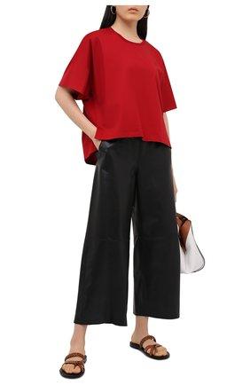 Женская хлопковая футболка LOEWE красного цвета, арт. S359341XA4 | Фото 2