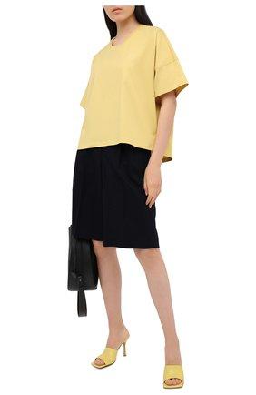 Женская хлопковая футболка LOEWE желтого цвета, арт. S359341XA4 | Фото 2
