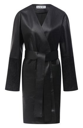 Женское кожаное пальто LOEWE черного цвета, арт. S359336XBS | Фото 1