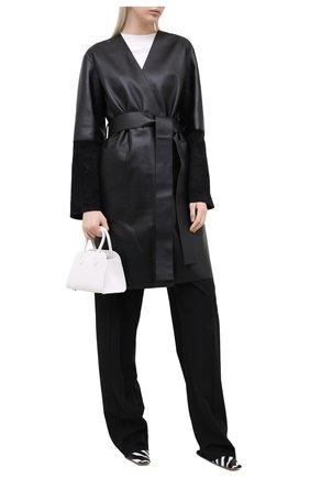 Женское кожаное пальто LOEWE черного цвета, арт. S359336XBS | Фото 2