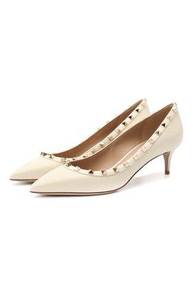 Женская кожаные туфли valentino garavani rockstud VALENTINO кремвого цвета, арт. UW2S0V22/VCE | Фото 1