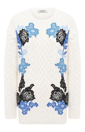 Женская свитер из шерсти и кашемира VALENTINO белого цвета, арт. UB3KCB515QL   Фото 1