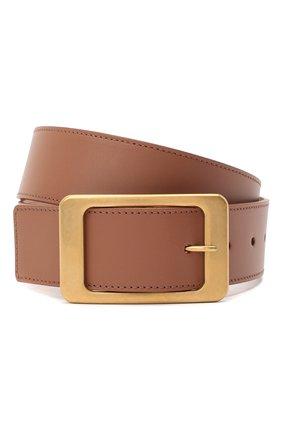 Женский кожаный ремень LORO PIANA коричневого цвета, арт. FAL3387   Фото 1 (Материал: Кожа)