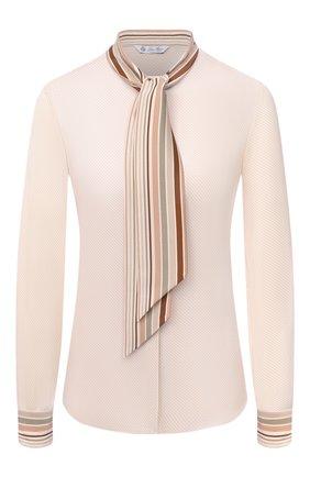 Женская шелковая блузка LORO PIANA светло-бежевого цвета, арт. FAL3454 | Фото 1