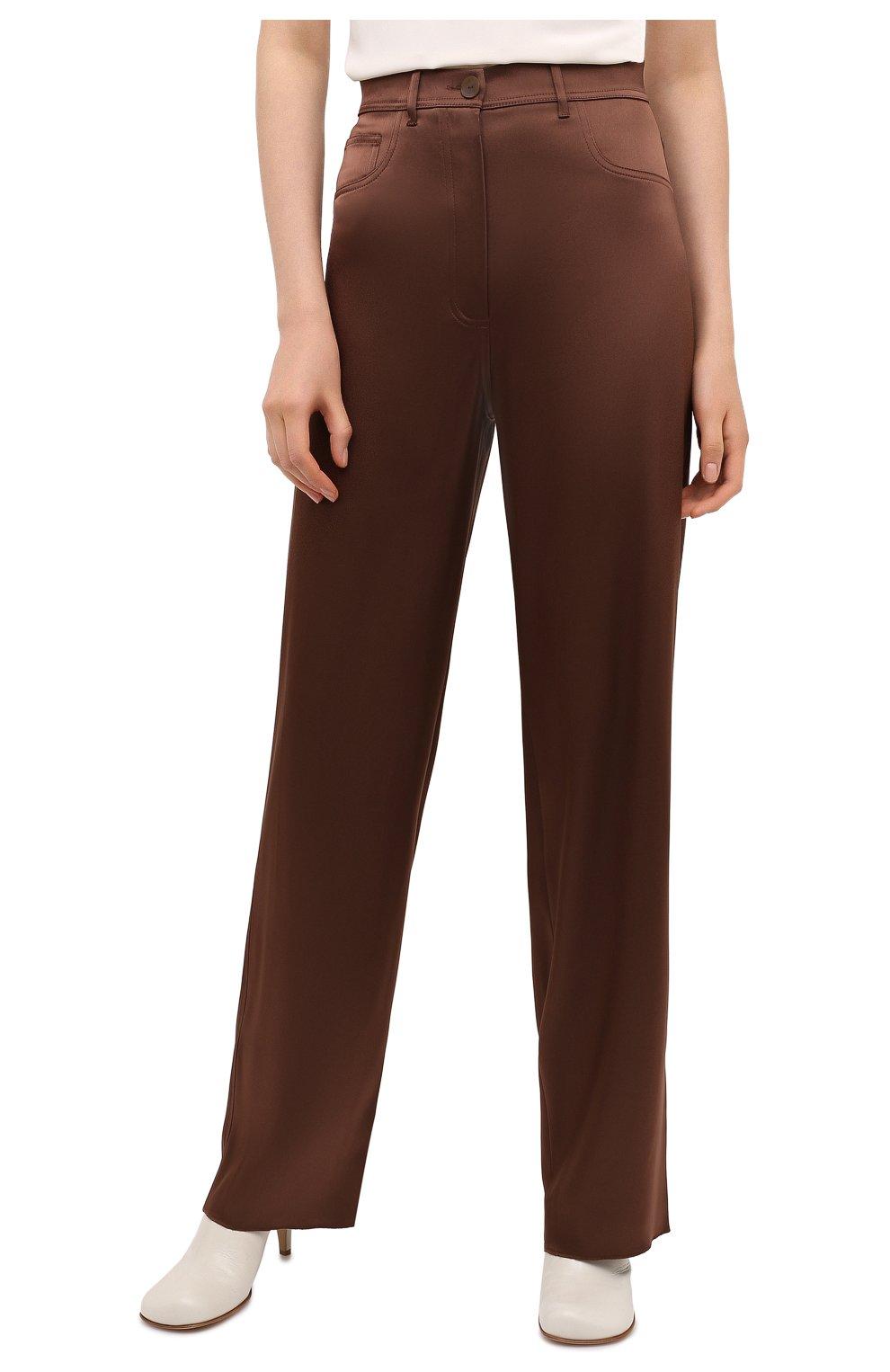 Женские брюки NANUSHKA коричневого цвета, арт. DREW_BR0WN_SLIP SATIN | Фото 3