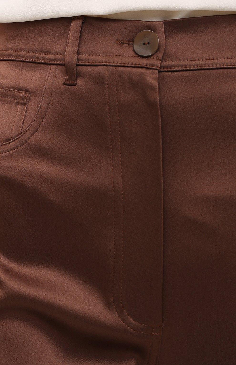 Женские брюки NANUSHKA коричневого цвета, арт. DREW_BR0WN_SLIP SATIN | Фото 5