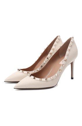 Женская кожаные туфли valentino garavani rockstud VALENTINO кремвого цвета, арт. UW2S0A04/VCE | Фото 1