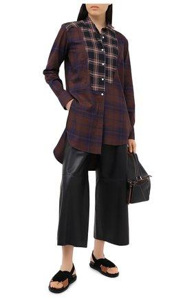 Женские кожаные брюки LOEWE черного цвета, арт. S359331XBG | Фото 2