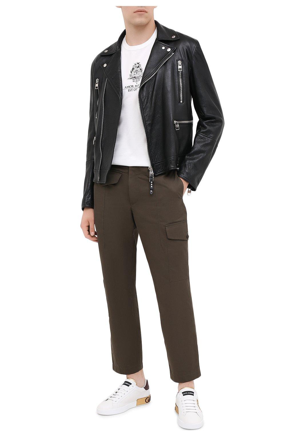 Мужские кожаные кеды portofino DOLCE & GABBANA белого цвета, арт. CS1760/B5767 | Фото 2