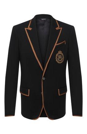Мужской шерстяной пиджак DOLCE & GABBANA черного цвета, арт. I2NF3Z/HU7DW | Фото 1