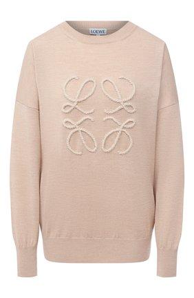 Женский шерстяной пуловер LOEWE бежевого цвета, арт. S359333XAZ | Фото 1