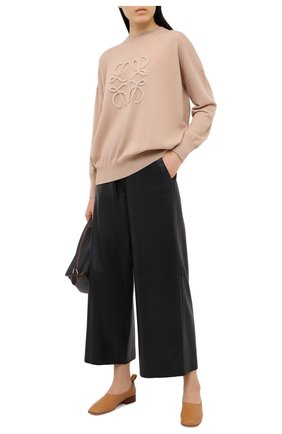 Женский шерстяной пуловер LOEWE бежевого цвета, арт. S359333XAZ | Фото 2