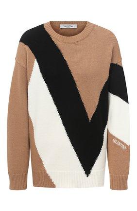 Женская свитер из шерсти и кашемира VALENTINO бежевого цвета, арт. UB3KC15Q5NE   Фото 1