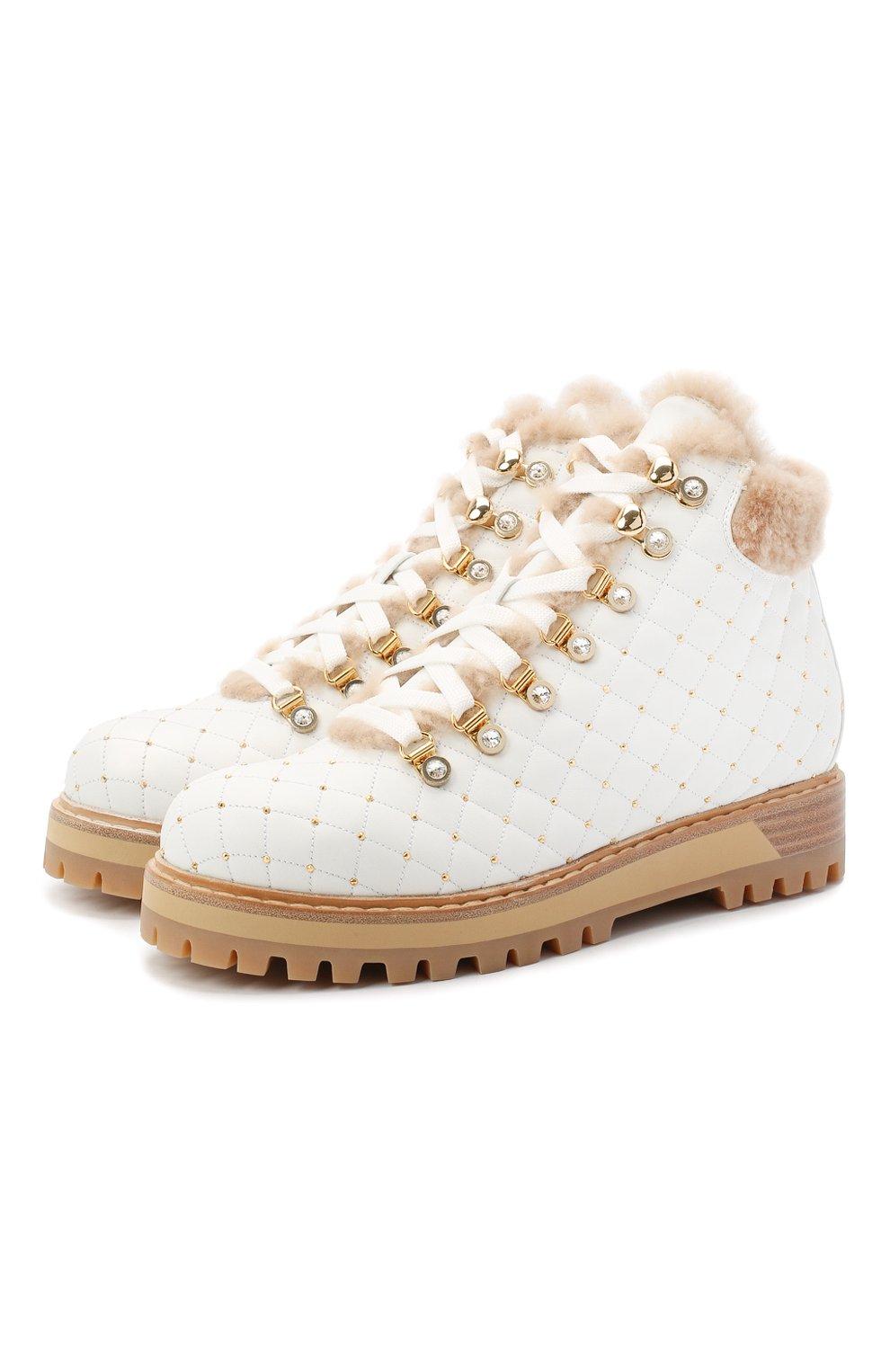 Женские кожаные ботинки LE SILLA белого цвета, арт. 7514P040M1MMCHI | Фото 1