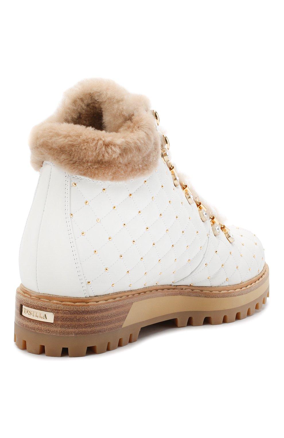 Женские кожаные ботинки LE SILLA белого цвета, арт. 7514P040M1MMCHI | Фото 4