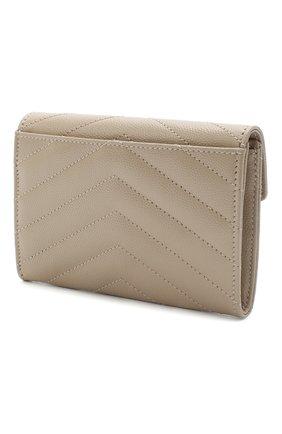 Женские кожаный кошелек monogram SAINT LAURENT светло-бежевого цвета, арт. 414404/B0W01 | Фото 2