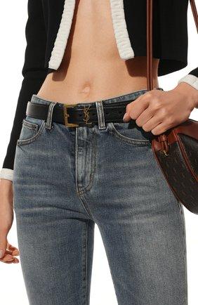 Женский кожаный ремень SAINT LAURENT черного цвета, арт. 634437/B000W | Фото 2 (Материал: Кожа)