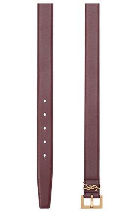 Женский кожаный ремень SAINT LAURENT бордового цвета, арт. 634437/B000W | Фото 2