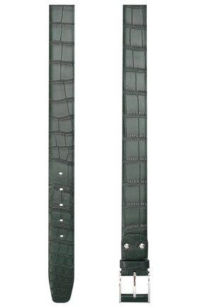 Мужской ремень из кожи аллигатора ZILLI зеленого цвета, арт. MJL-CLAQE-01010/0233/AMIS | Фото 2