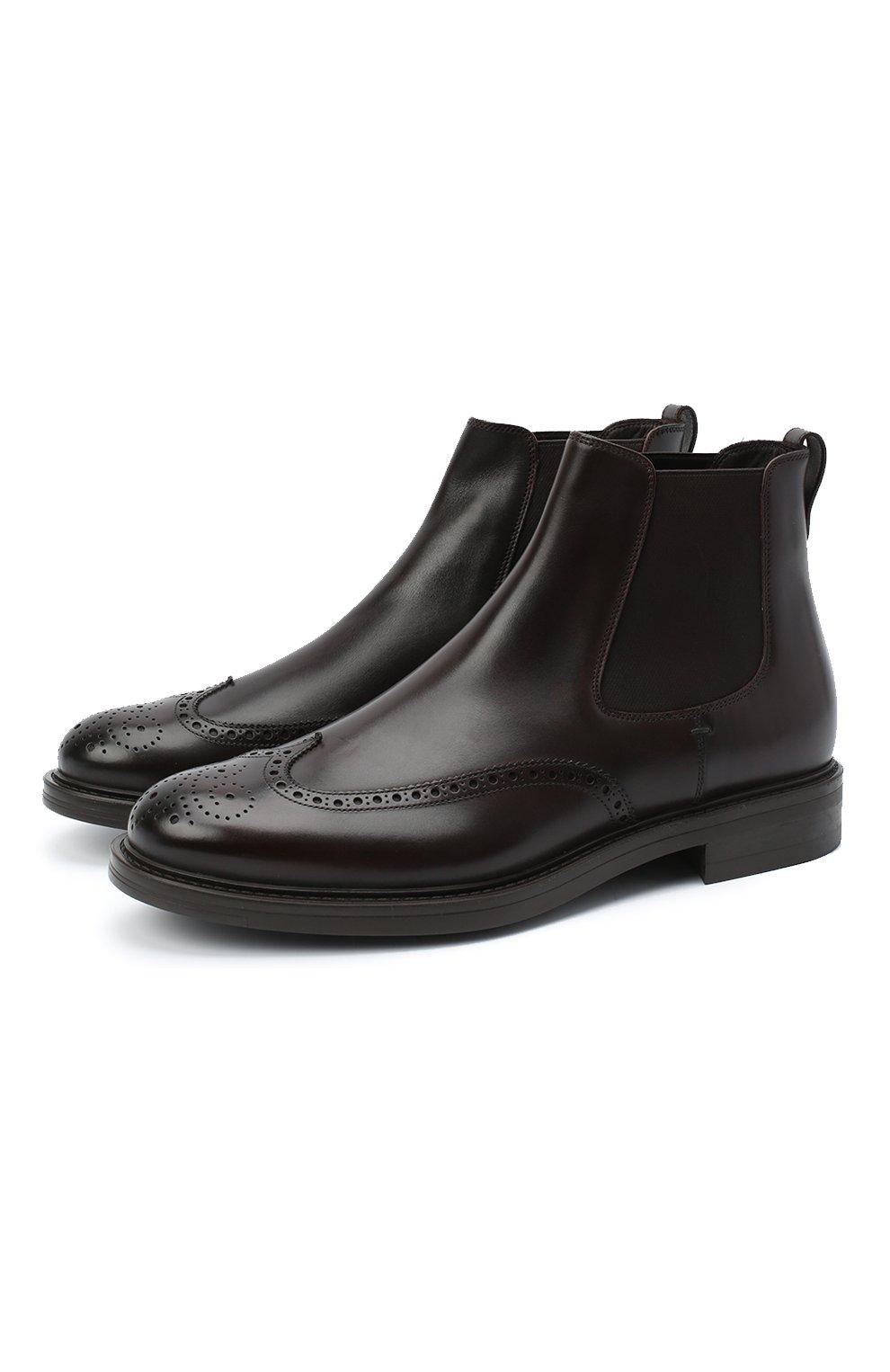 Мужские кожаные челси W.GIBBS темно-коричневого цвета, арт. 3169004/0214   Фото 1 (Материал внутренний: Натуральная кожа; Подошва: Плоская; Мужское Кросс-КТ: Сапоги-обувь, Челси-обувь)