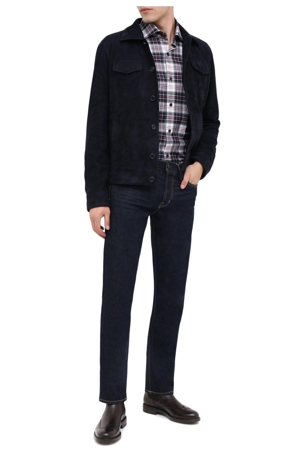 Мужские кожаные челси W.GIBBS темно-коричневого цвета, арт. 3169004/0214   Фото 2 (Материал внутренний: Натуральная кожа; Подошва: Плоская; Мужское Кросс-КТ: Сапоги-обувь, Челси-обувь)