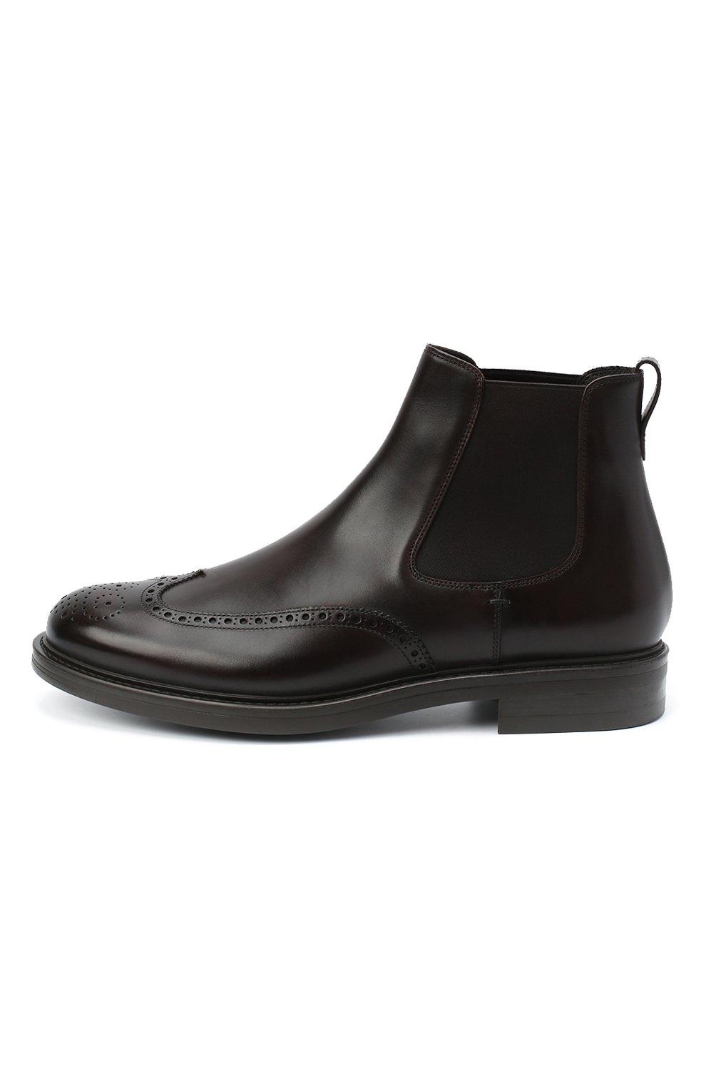 Мужские кожаные челси W.GIBBS темно-коричневого цвета, арт. 3169004/0214   Фото 3 (Материал внутренний: Натуральная кожа; Подошва: Плоская; Мужское Кросс-КТ: Сапоги-обувь, Челси-обувь)